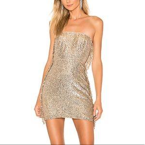 X by NBD Mekayla Mini Dress in Silver & Rose Gold